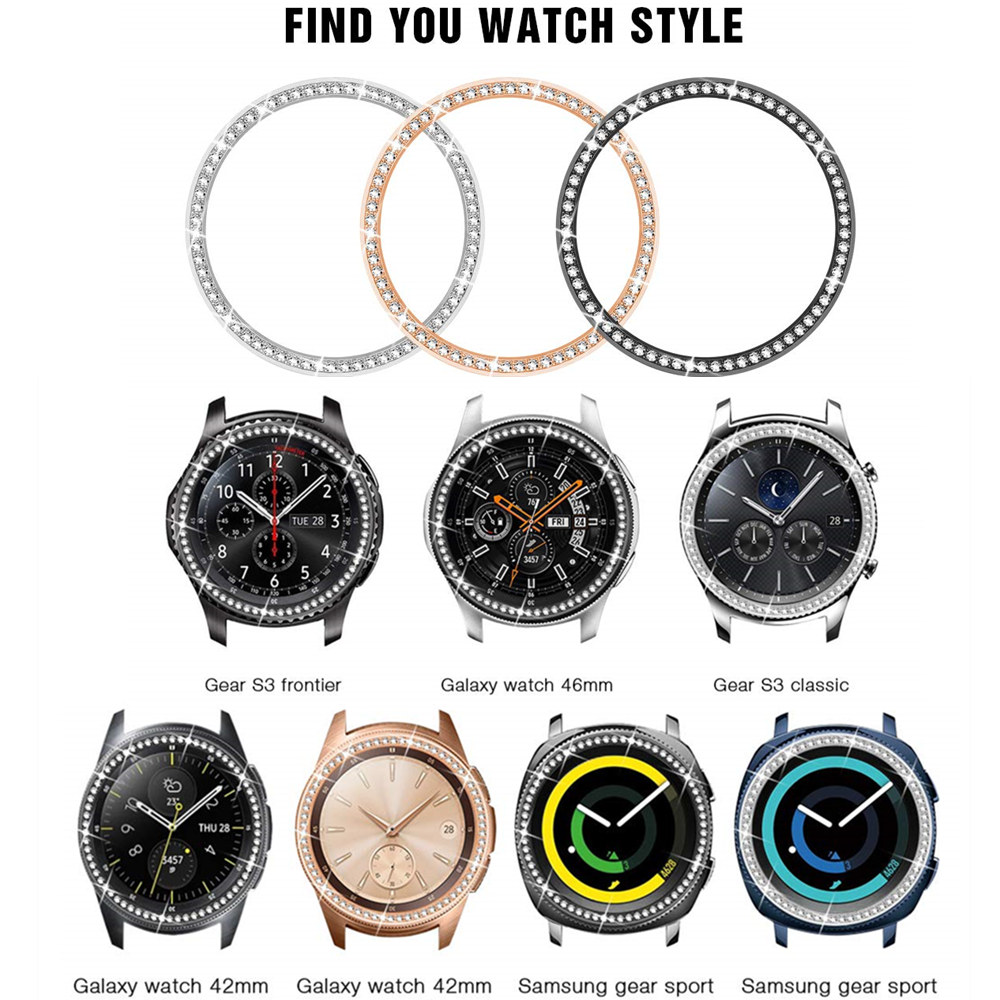Bling Bezel For Samsung Galaxy Watch 46mm 42mm gear s3 cover Diamond Metal Ring Adhesive Cover Anti watch Accessories s 3 46 mm