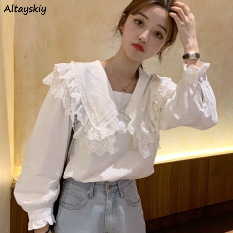Shirts Women White Lace Sailor Collar Tops Spring New Style Shirt Harajuku Student Lovely All-match Loose Leisure Classic Retro image