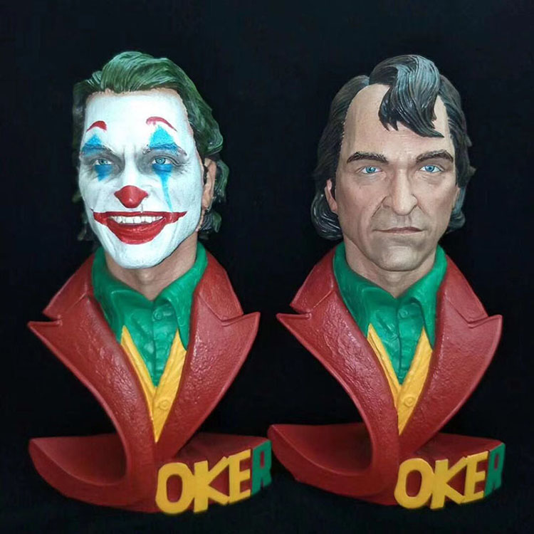 New Joaquin Phoenix Film Joker Super Hero DC Batman Series Justice League Bust Half Body 18cm Statue Figure Model Toys