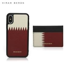 Hiram Beron Custom Name FREE Leather Card Holder Wallet Qatar for iphone 7 8 Plus X XS XR 11 12 case gift set dropship