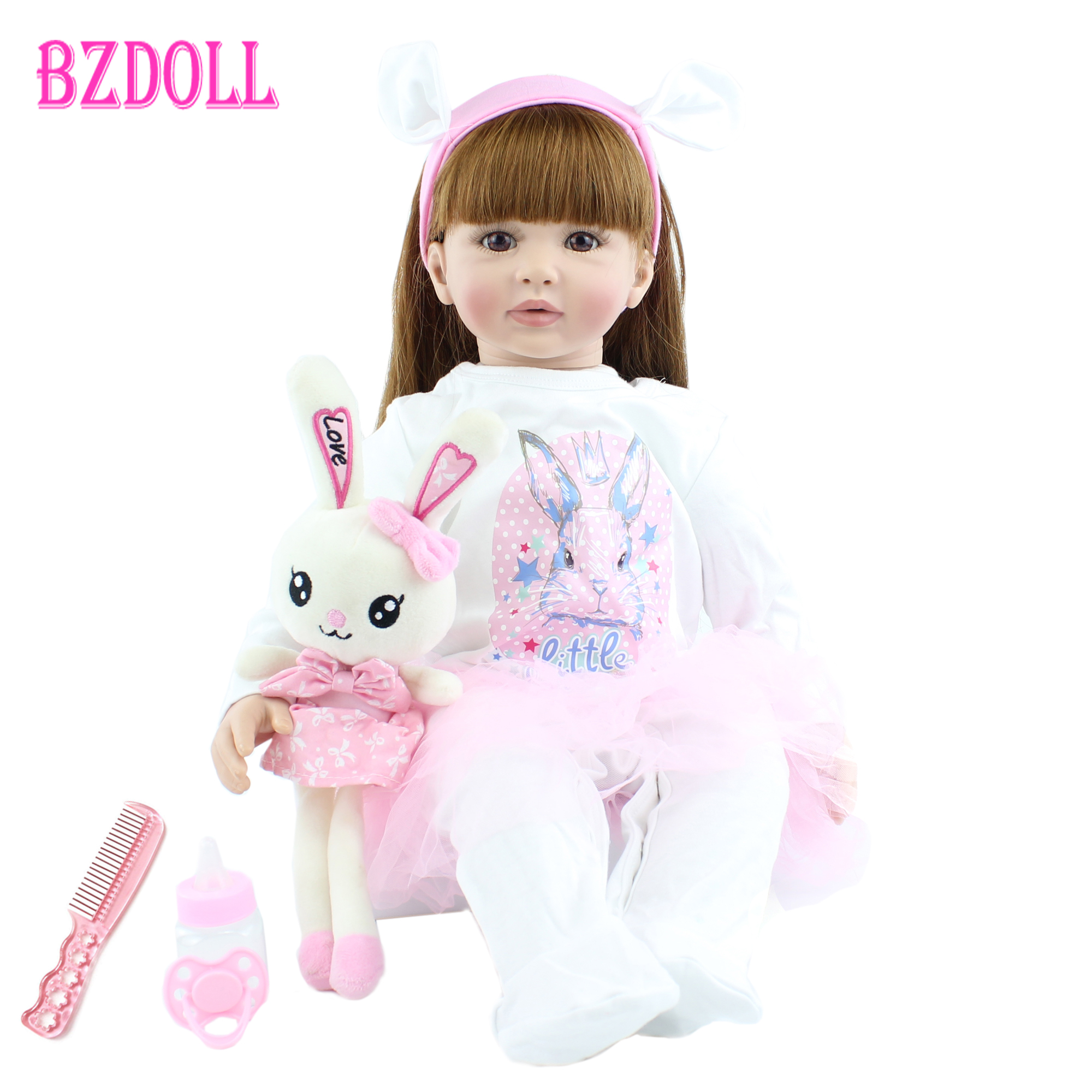 60cm Soft Silicone Reborn Toddler Baby Girl Doll Toys Lifelike Vinyl Long Hair Princess Alive Bebe Dress Up Doll With Rabbit