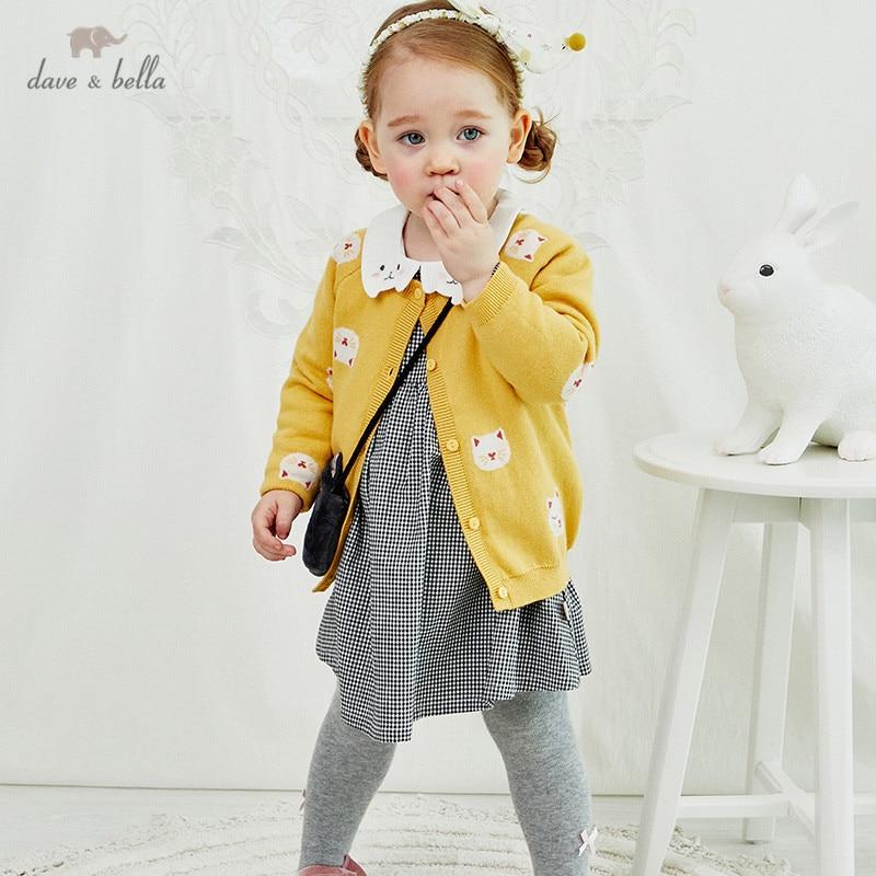 DBZ14562 1 dave bella/осенний Модный кардиган с рисунком кота для маленьких девочек; Детское пальто для малышей; Милый вязаный свитер для детей|Свитера| | АлиЭкспресс