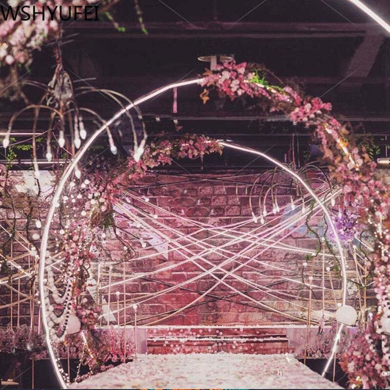 Image 5 - Artificial wrought iron round ring arch door simulation flower  row house holiday celebration wedding Christmas decoration EMSWedding  Arches