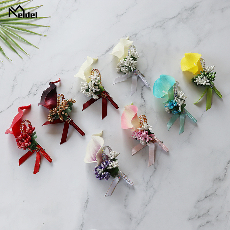 Meldel Wedding Corsage Groom Brooch Pins Wedding Corsages And Boutonnieres White Buttonhole PU Calla Man Marriage Accessories