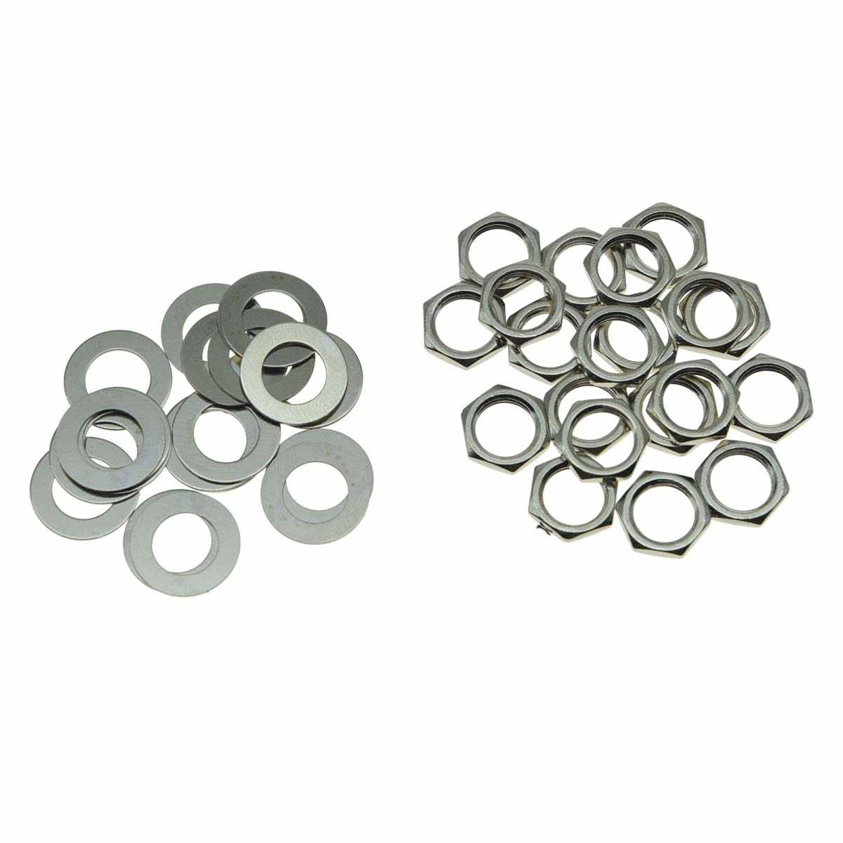"KAISH 20pcs US Thread 3/8"" Guitar Pots Nuts Potentiometer Hex Nut and Washers for CTS Pots & Switchcraft Jacks Nickel"