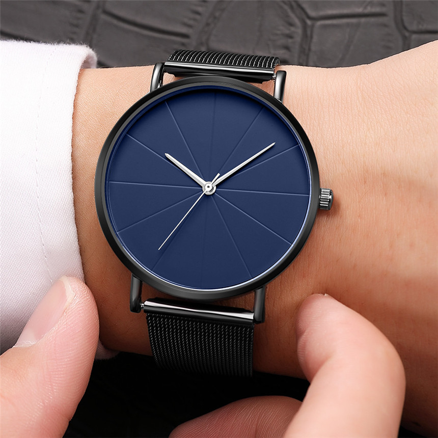 Black Simple Watch Men's Watches Sports Male Stainless Steel Clock Men Luxury Brand Wristwatch Man Watch Relogio Masculino D30