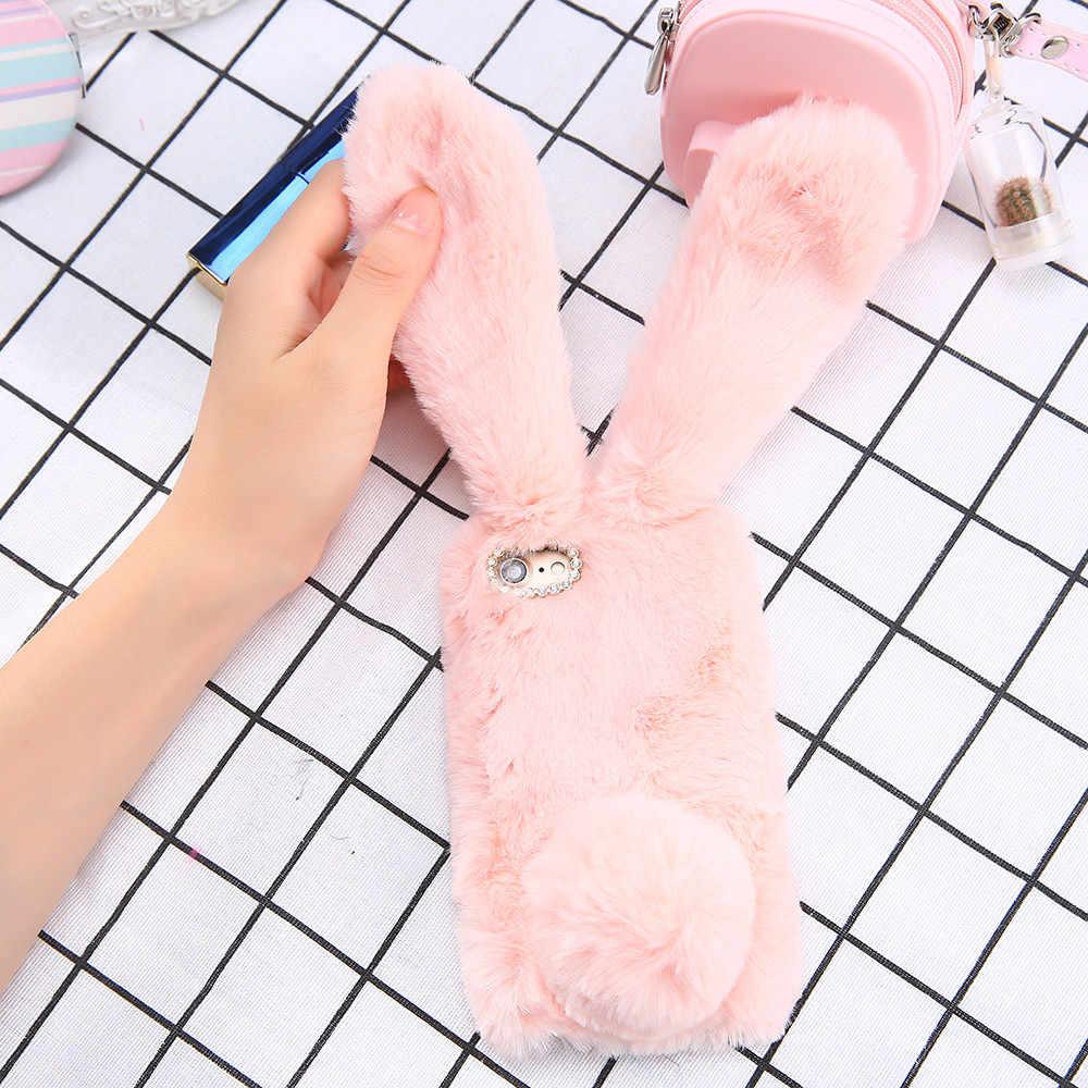 Carino Bling Cassa Del Telefono Del Rhinestone per il iPhone 8 Più 3D Coniglio Peloso Caldo di Pelliccia di Coniglio Della Copertura di Caso per iPhone8
