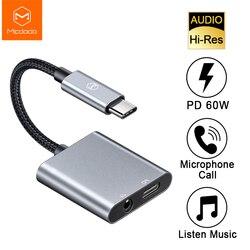 MCDODO 60W PD USB C Sang 3.5 Mm + Loại-C Tai Nghe Âm Thanh Kỹ Thuật Số Adapter Đắc Hi- hi-res Dây Cáp AUX Cho iPad Pro Macbook Samsung S10 Huawei