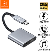 Mcdodo 60W PD USB C to 3.5mm+Type C Headphone Digital Audio Adapter DAC Hi Res Aux Cable For iPad Pro Macbook Samsung S10 Huawei