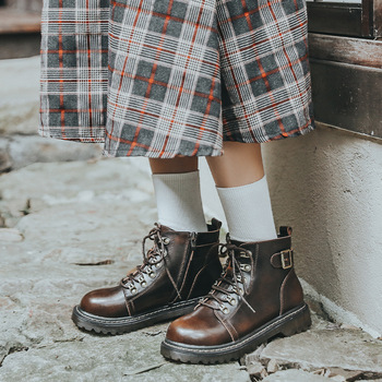 2021 nowe buty seksowne buty damskie damskie buty platformowe buty damskie botki estetyczne buty wygodne buty damskie tanie i dobre opinie chuqing Płaskie z Martin buty PRAWDZIWA SKÓRA CN (pochodzenie) Na wiosnę jesień ANKLE Brytyjski styl ZSZYWANE GEOMETRIC
