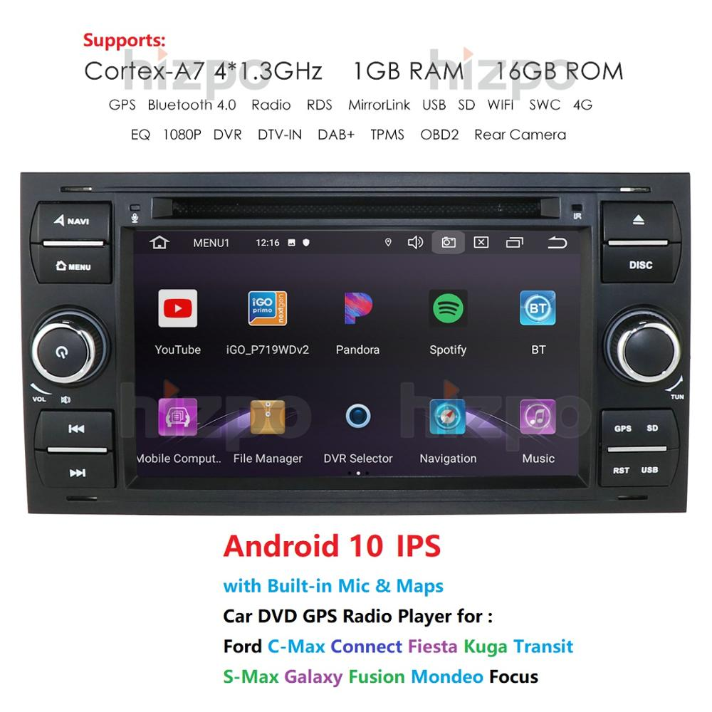 1024*600 Quad Core Android 10 Car DVD GPS FOR FORDFOCUS C MAX Car DVD Player 7 IPS Touch Screen 2Din Car Multimedia RDS DVRCar Multimedia Player   -