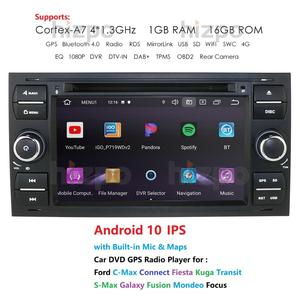 Image 1 - 1024*600 Quad Core Android 10 Car DVD GPS FOR FORDFOCUS C MAX Car DVD Player 7 IPS Touch Screen 2Din Car Multimedia RDS DVR