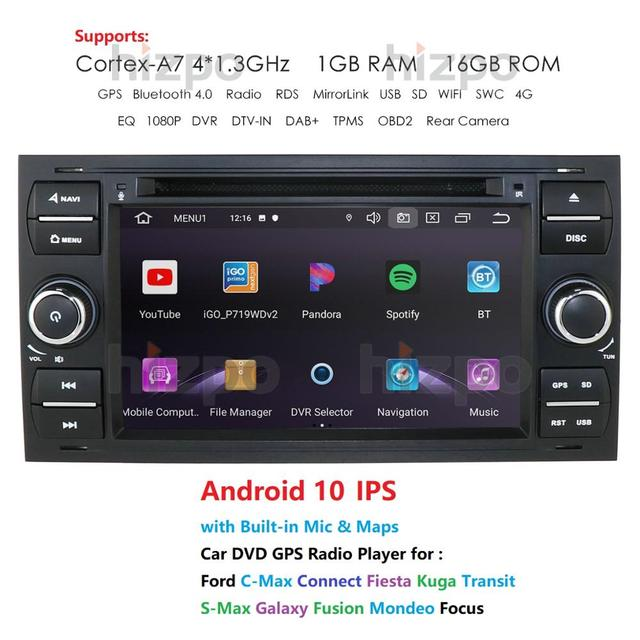 1024*600 Quad Core Android 10 Car DVD GPS FOR FORDFOCUS C MAX Car DVD Player 7 IPS Touch Screen 2Din Car Multimedia RDS DVR
