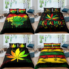 Maple Leaf Bedding Set 2/3 Pcs Tie Dye Duvet Cover Home Textile Single/Twin/Double/Full/Queen/UK King/AU King/US King Size