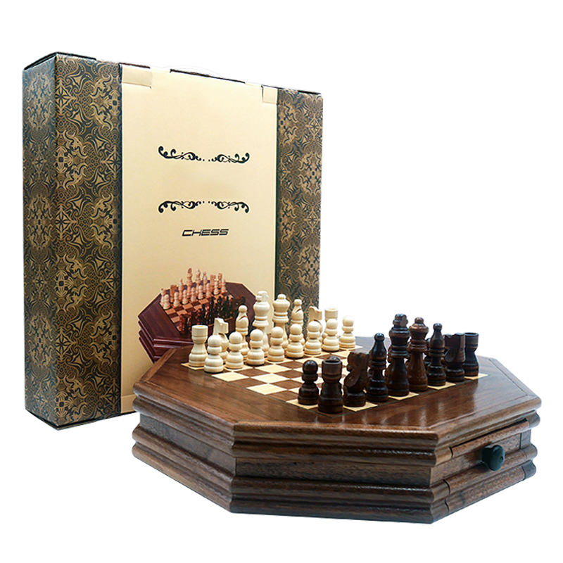 Boutique Chess Set Handwork Solid Wood Coffee Table Walnut Drawer Style Storage Pieces Professional Chess Child Gift Board Games Mega Promo 5db79 Cicig