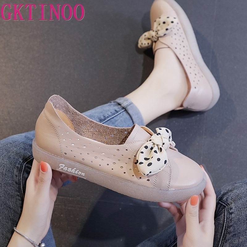 GKTINOO Spring Autumn Genuine Leather Women Shoes Casual Woman Ballet Flats Cute Slip On Female Butterfly-knot Flat Shoe