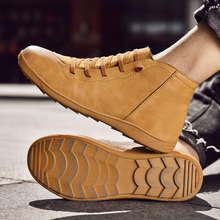 PU Leather Men Casual Boot 2020 High Quality Lover Punk Ankle Boot Elastic Cross Strappy Flat Walking Shoes Big 47 Bota Hombre