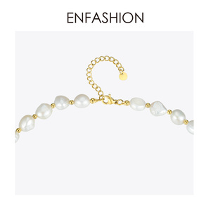 Image 4 - ENFASHION Natural Pearl Choker Necklace Women Gold Color Stainless Steel Irregular Pearl Necklace Fashion Femme Jewelry P193050
