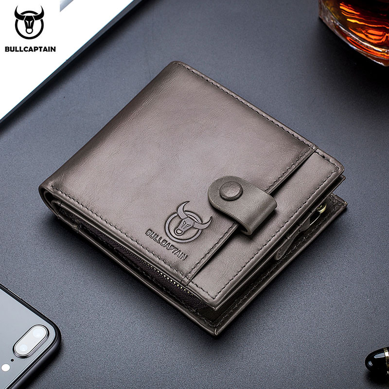 BULLCAPTAIN100% Genuine Leather Men's Wallet Coin Purse Small Wallet Retro Short Wallet British Casual Multifunction Wallet