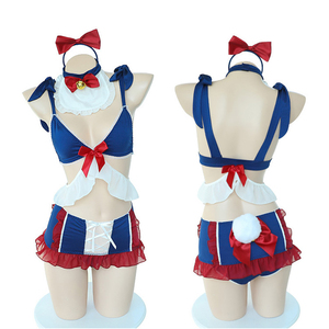 Image 5 - Cute Kawaii Snow White Cosplay Costume Women Lingerie Maid Uniform Bunny Tail Underwear Lolita Dress Bra and Panty Set