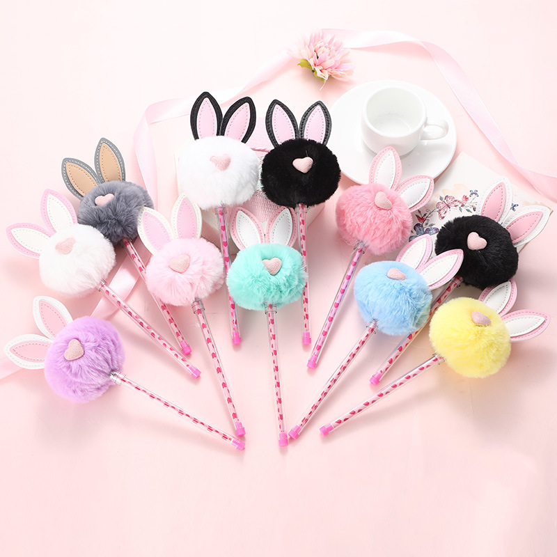 1X Candy Plush Rabbit Gel Pen Rollerball School Office Supply  Stationery