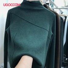 UGOCCAM col roulé épais Femme t-shirts à tricoter élasticité serrée à manches longues hauts pour femmes vêtements Vintage décontracté Femme T-Shirt