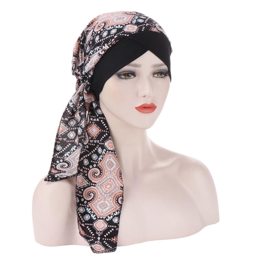 Мода шифоновое платье с цветочным принтом для женщин внутренние хиджабы кепки мусульманский головной платок тюрбан шляпа ready to wear обруча дам под хиджаб шапка|Мусульманская одежда|   | АлиЭкспресс