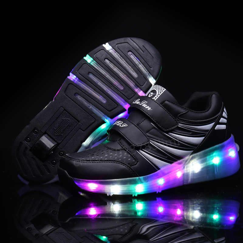 ילדים זוהר סניקרס עם גלגלי Led אור עד רולר גלגיליות ספורט זוהר מואר נעליים לילדים בני ורוד שחור ורוד