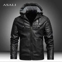 Erkekler kış yeni DERİ CEKETLER ceket motosiklet rahat polar kalınlaşmak motosiklet PU ceket Biker sıcak deri erkekler marka giyim