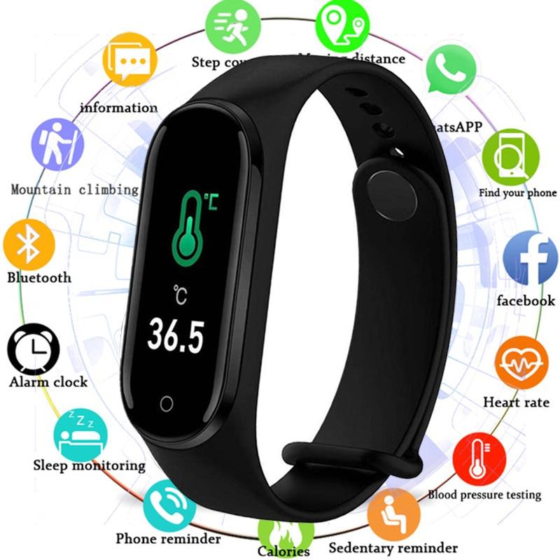 Temperatura m4pro tela colorida smartwatch 2020 pressão arterial e freqüência cardíaca saúde monitoramento pulseira esporte banda inteligente 4 relógio ajuste