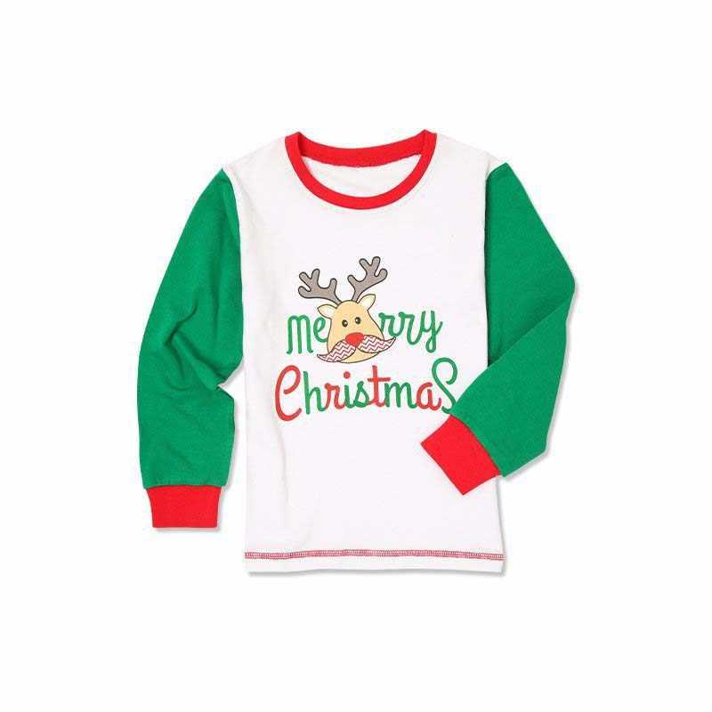 חג המולד משפחה 2019 קריקטורה הדפסת צבי ירוק פס מכנסיים התאמת הלבשת אבא אמא ילד Nightwear גברים נשים בגדים