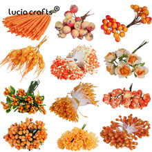6/10/12/50/70/288pcs Mixed Orange Flower Cherry Stamen Berries Bundle DIY Christmas Wedding Cake Gift Box Wreaths Decor D0313(China)