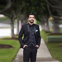 Middle East Black Formal Suit Dress Up For Men Wedding Tuxedos Tailor Made Groom Groomsmen Suit Spring (Jacket+Pants+Vest)