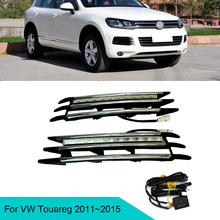 Intermitente amarillo para coche, luces Led Drl para Volkswagen Touareg 12v, lámpara antiniebla, 4x4, 2011, 2012, 2013, 2014, 2015