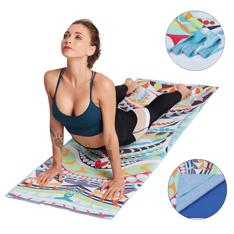 185cm*63cm Yoga Mat Cover Towel Sweat Non-Slip Microfiber Towel Gym Pilates Portable Printing Blankets Mat For Fitness Yoga Stud