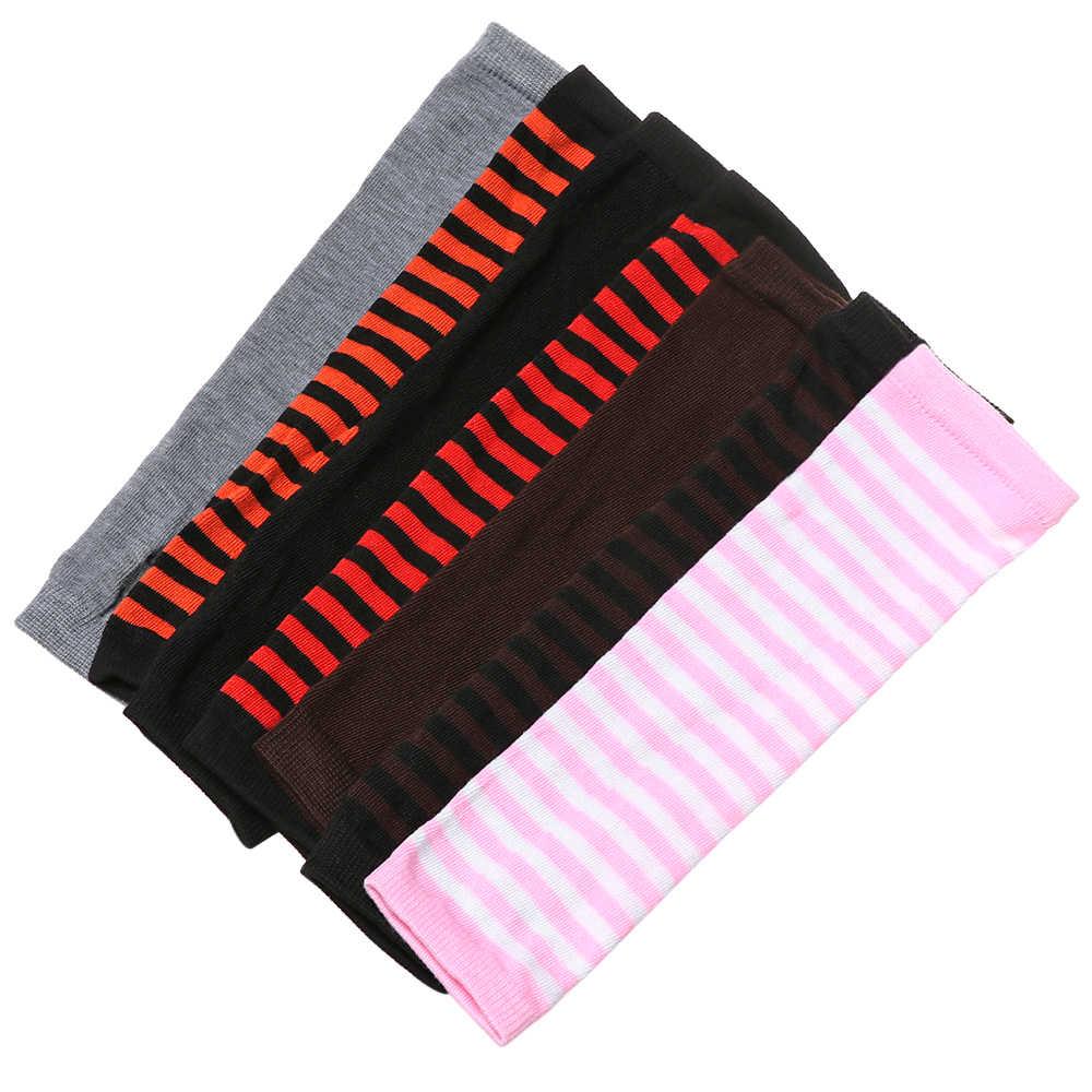 ファッション女性女の子ソフト綿古典的な指なし手袋腕カバー長袖ストライプ肘ミトンニット手袋