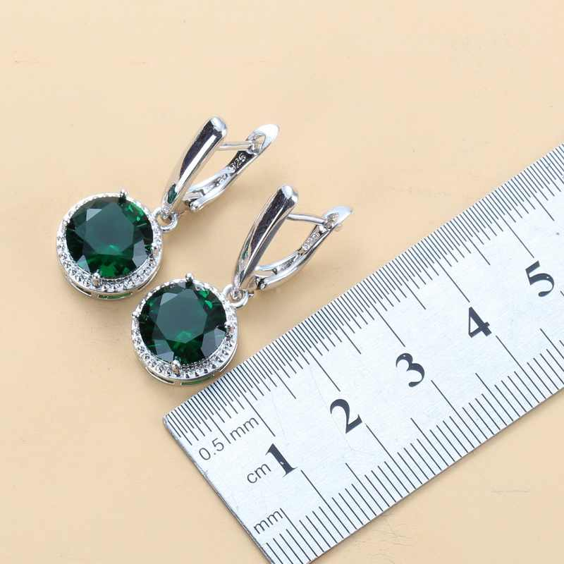 Charme feminino zircão verde conjuntos de jóias redondas 925 prata esterlina na moda traje brincos colar pulseira
