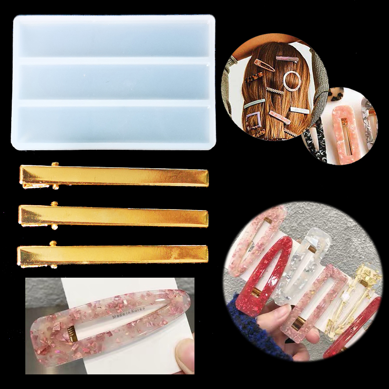 Transparent Hairpin Silicone Special Mould For Resin Real Flower DIY Hair Jewelry Making Mold Epoxy Resin Molds