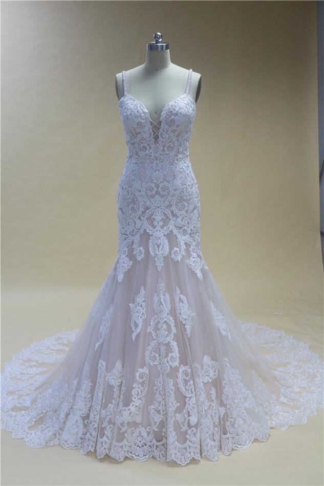Sexy Mermaid Wedding Dresses sequins  Lace Wedding Dress V-Neck Bridal Gown  New Design Custom Made
