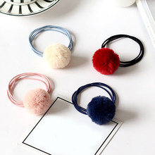 Wholesale New Cute Pompon Ball Girls Children Elastic Hair Bands Ponytail Holder Rubber Bands Hair Accessories(China)