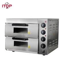 ITOP Коммерческая двухслойная печь для выпечки с плитой для пиццы, электрическая печь из нержавеющей стали для жареного пирога, курицы, хлеба