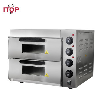 ITOP Commercial Double Layer Baking Oven With Pizza Oven Stone Electric Stainless Steel Roasted Cake Chicken Bread Oven