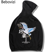 цена на Bebovizi Japanese Crane Embroidered Hoodies Chinese Characters Print Sweatshirts Pullover Hooded Harajuku Streetwear Hoodie 2019