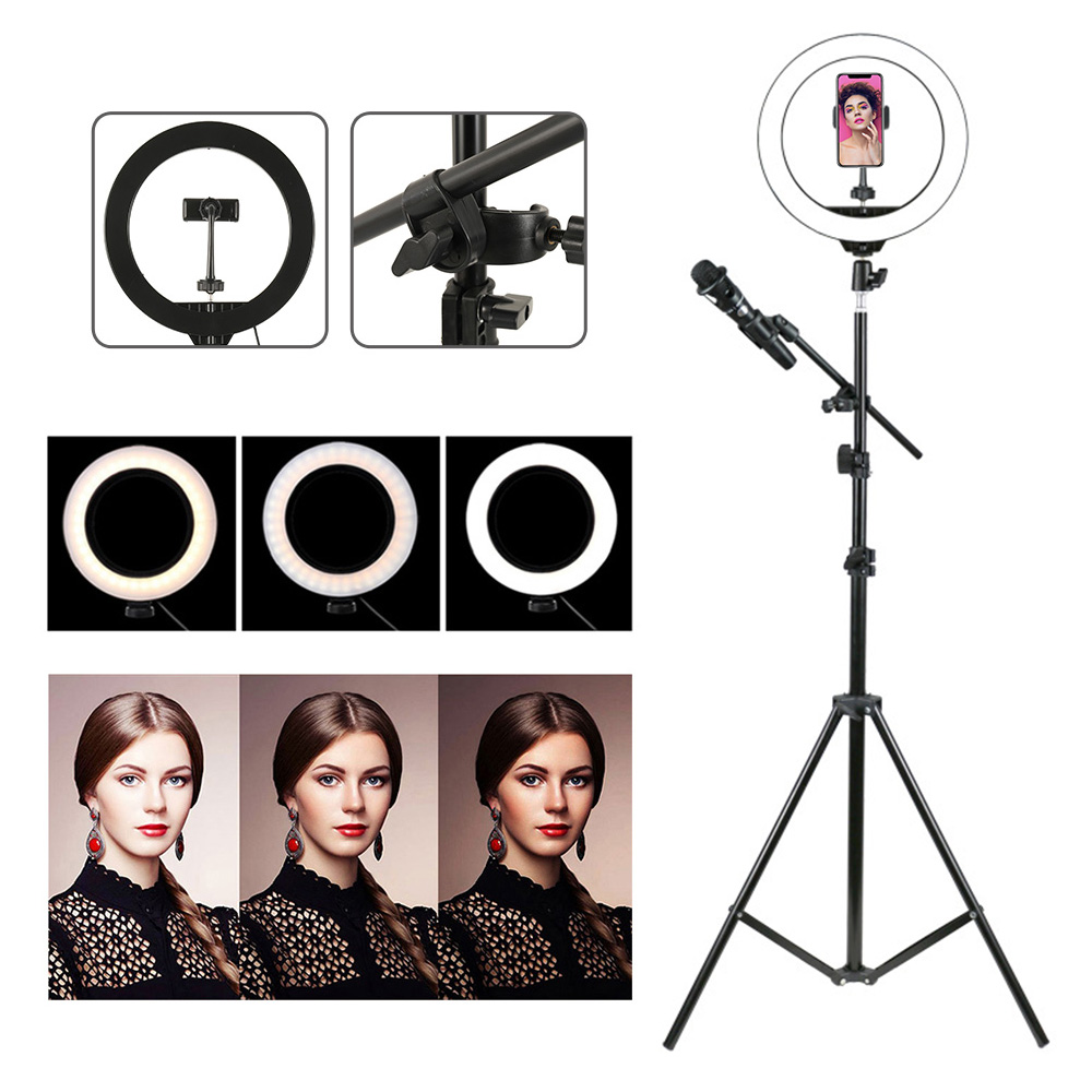 LED Ring Fill Light Live Beauty Fill Light With Microphone Clip Tripod Large Diameter Ring Light