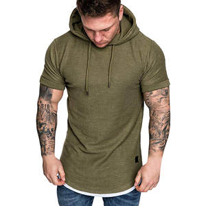 T-Shirt Hoodie Short-Sleeve Men's Solid-Color Large-Size Fashion Casual -Bl1 Blouse Slim-Fit
