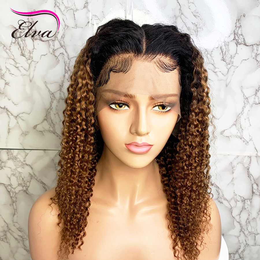 Elva Curly Ombre Lace Front Wig Pre Plucked With Baby Hair Blonde Color 13x6 Brazilian Remy Hair Lace Front Human Hair Wigs