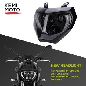 Image 1 - KEMiMOTO For YAMAHA MT07 2018 2019 MT07 MT09 LED Headlight Lamp MT09 FZ09 2014 2015 2016 Motorcycle Headlight DRL 110W
