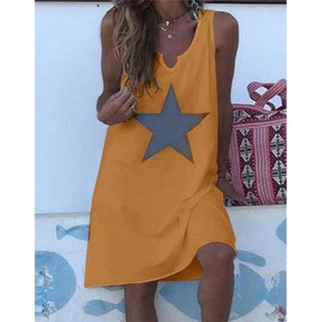 Women 2021 Loose Vintage Star Print Cotton Dress Large Big Summer  Party Beach Dresses Plus Sizes 6