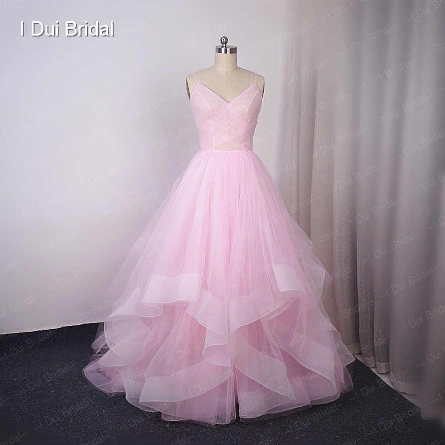 المتتالية تنورة الزفاف فساتين مع Stardusted تول الكرة ثوب البريق المواد الكشكشة تنورة طبقات فستان زفاف