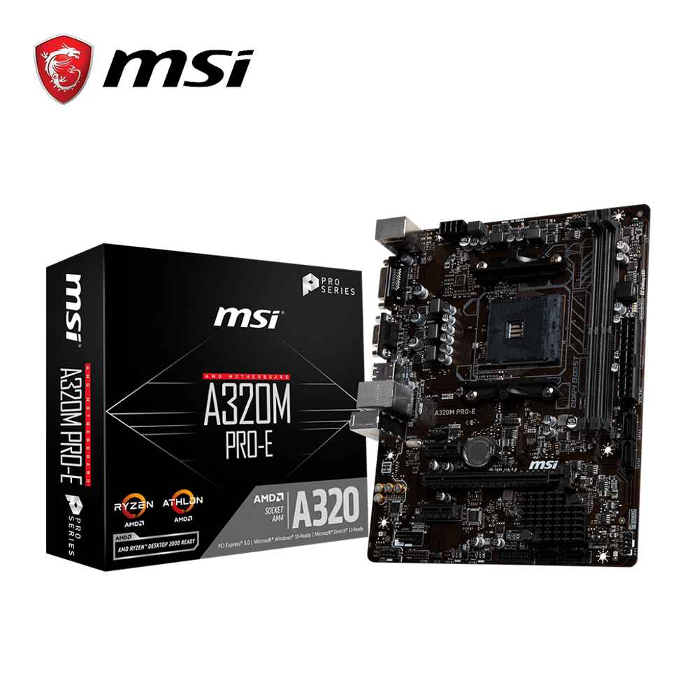 MSI A320M PRO E материнская плата amd am4 socket ryzen DVI dual ddr4 memory slot PCI E Gen3 X16 SATAIII USB3.1 m ATX motherboard-in Motherboards from Computer & Office
